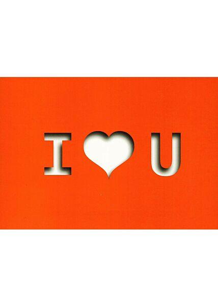 Postkarte I love You rot