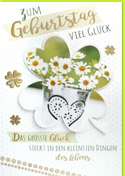 Geburtstagskarte - A4, Maxi, XXL Gänseblümchen im Kleeblatt