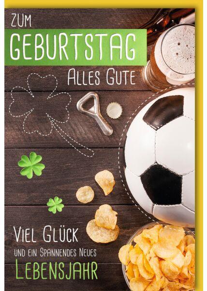 Geburtstagskarte mit Spruch Fußball Bier Chips