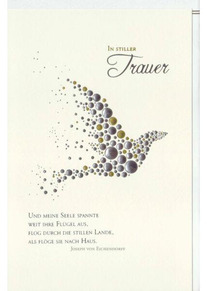Trauerkarte Eine Taube, Naturkarton, mit Silber- und Goldfolie und Blindprägung