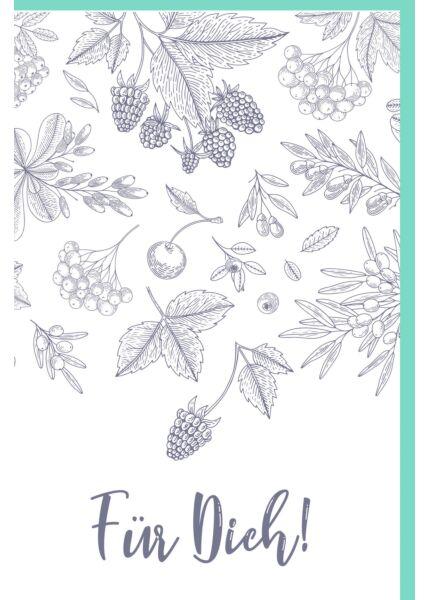 Grußkarte Alles Liebe Illustration Blätter