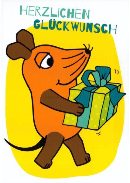 schöne Maus-Postkarte Herzlichen Glückwunsch