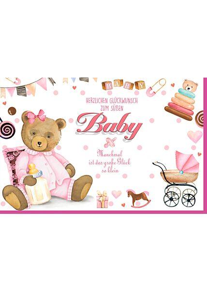 Glückwunschkarte Geburt Mädchen Tddy rosa Herzlichen Glückwunsch
