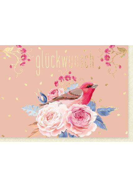 Glückwunschkarte allgemein Rosen mit rotem Vogel