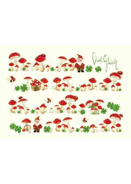 Postkarte Viel Glück premium Pilze