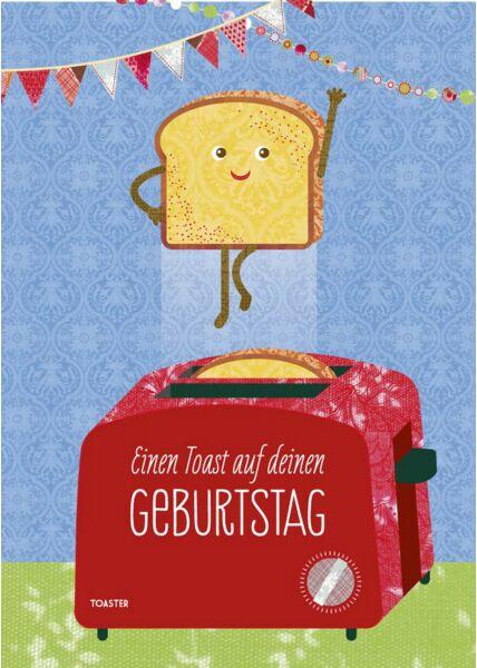Geburtstagspostkarte Einen Toast auf deinen GEBURTSTAG
