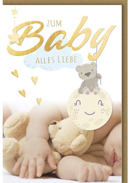 Glückwunschkarte zur Geburt Baby Alles Liebe, Baby mit Teddy