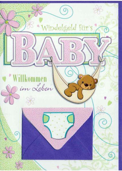 Glückwunschkarte Geburt Baby Mädchen mit Geldfach