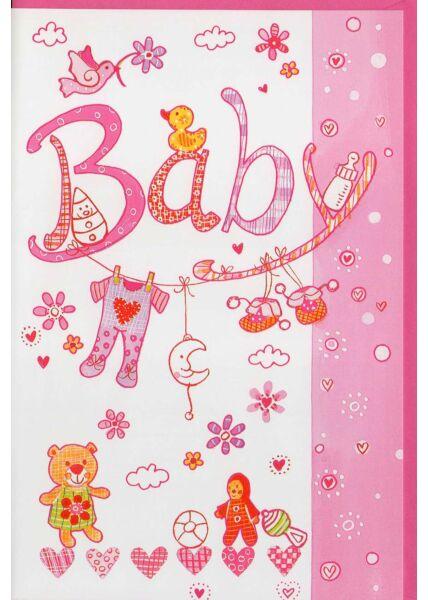 Glückwunschkarte Baby Mädchen rosa Kuvert