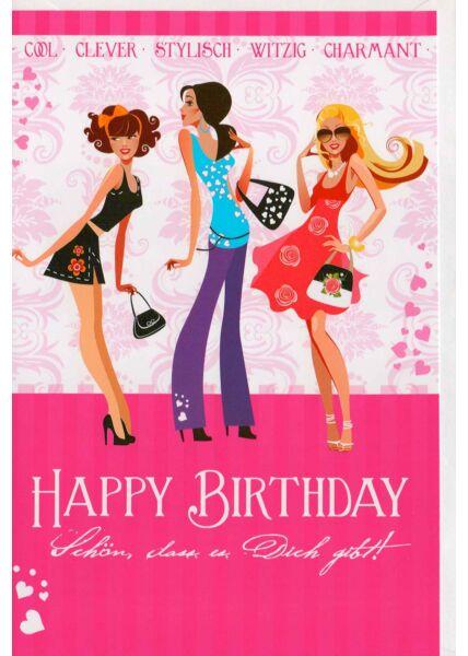 Geburtstagskarte für beste Freundin: Schön, dass es dich gibt