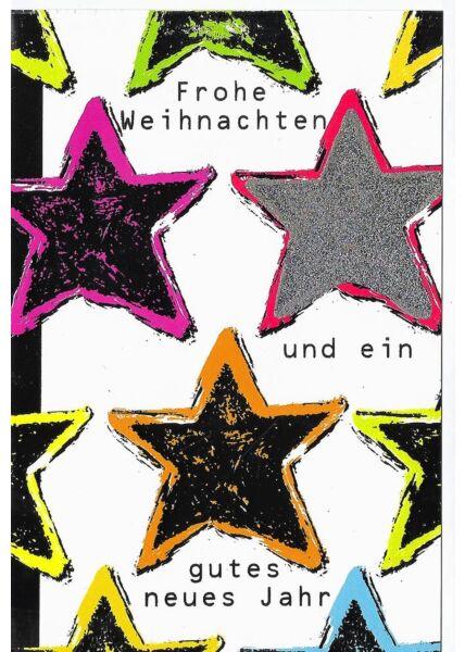 Weihnachtsgrußkarten Moderne Weihnachtskarte premium Sterne veredelt