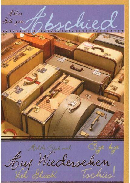 Abschiedskarte premium hochwertig veredet Koffer
