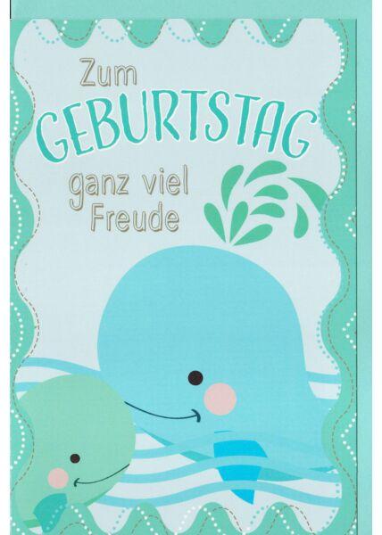 Kindergeburtstagskarte Kleiner und großer Wal, Wellen, Wasserspritzer