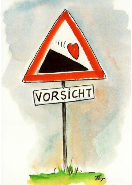 Postkarte Liebe Herz Berg Vorsicht