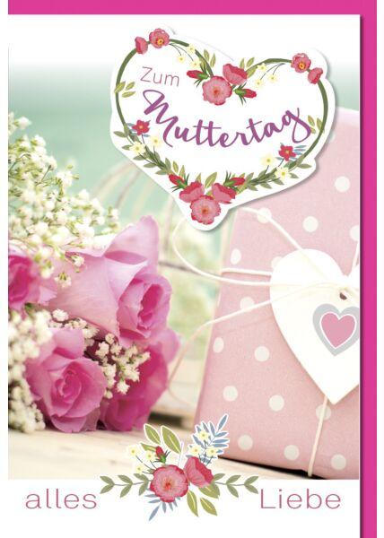 Muttertagskarte - Rosa Rosen und Geschenk