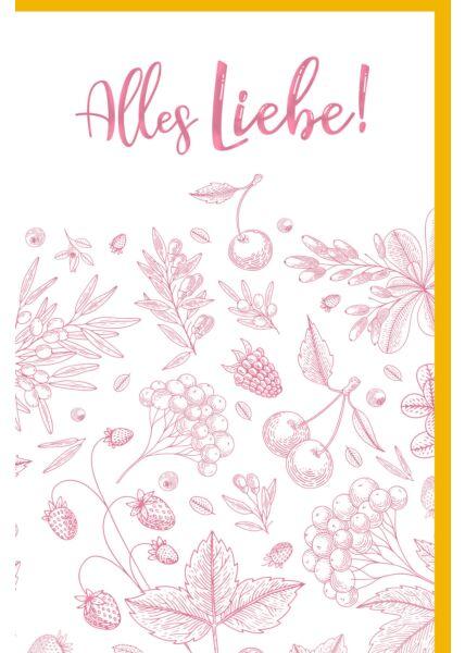 Grußkarte Alles Liebe Illustration Blätter Blindprägung Premium