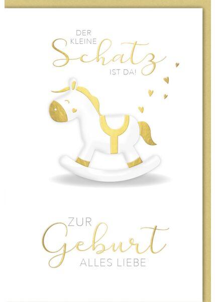 Glückwunschkarte zur Geburt Schaukelpferd mit gold