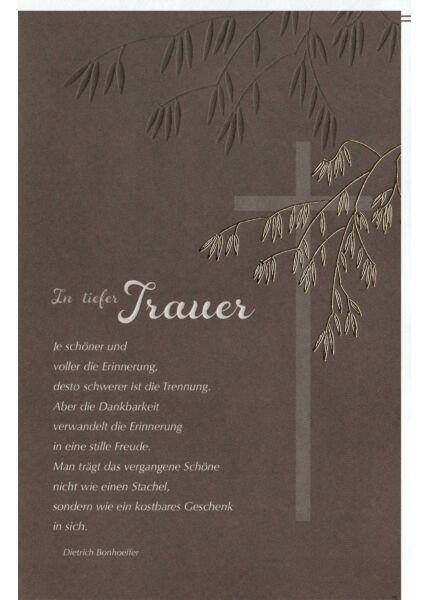 Trauerkarte Kreuz u. Zweig, Naturkarton, mit Goldfolie und Blindprägung