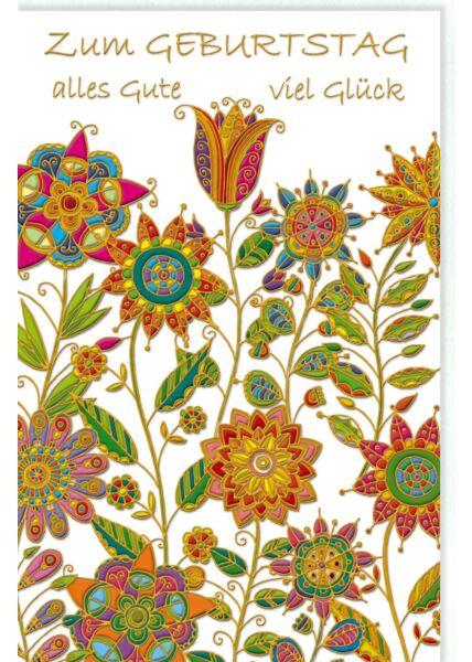 Glückwunschkarte Geburtstag Blumen, Naturkarton, mit Goldfolie