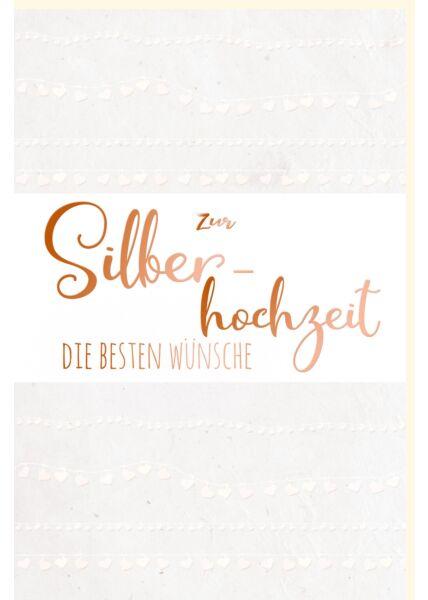Glückwunschkarte Silberhochzeit mit edlem Pergament die besten Glückwünsche