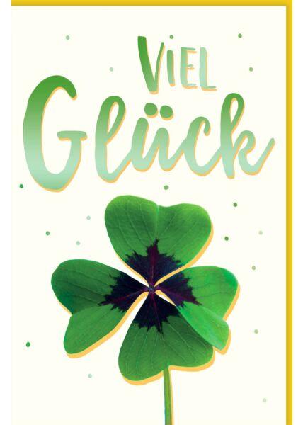 Viel Glück Karte Kleeblatt grün