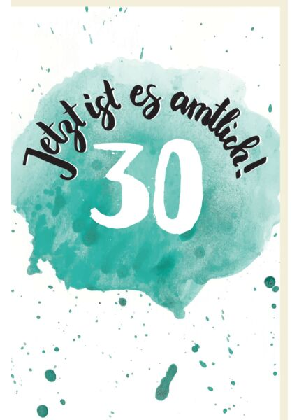 Geburtstagskarte 30 Schriftkarte mit Aquarellverlauf