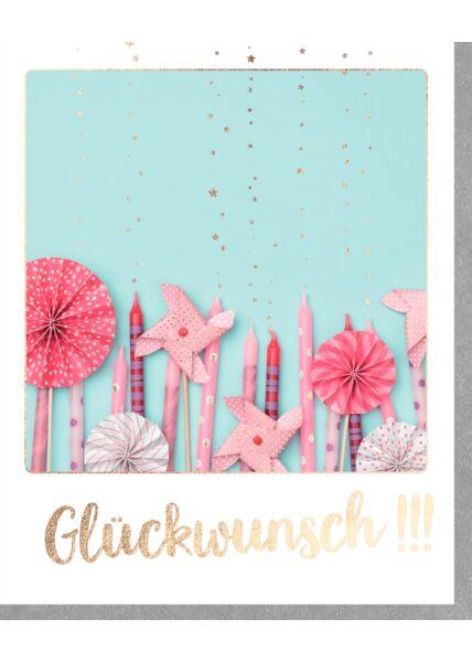 Glückwunschkarte Glückwunsch!!! Rosa Kerzen und Windrädchen