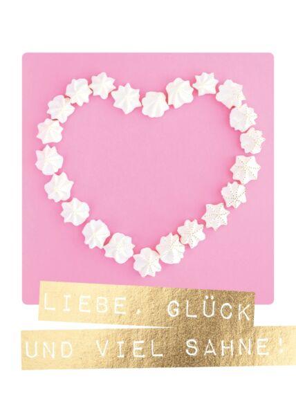 Postkarte Spruch Liebe, Glück und viel Sahne