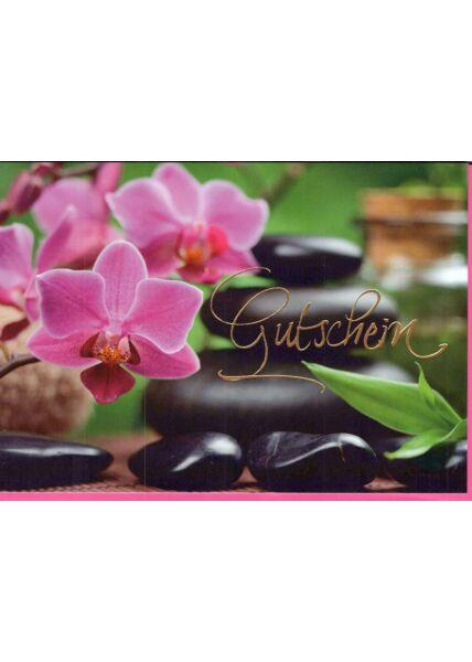 Karte Gutschein: Orchideen pink