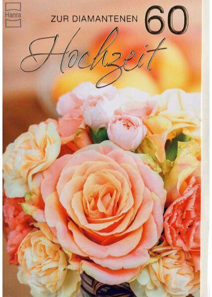 Diamathochzeit: goldene 60 auf Foto mit Blumenstrauß