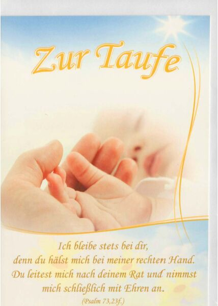 Grußkarte zur Taufe mit christlichem Spruch