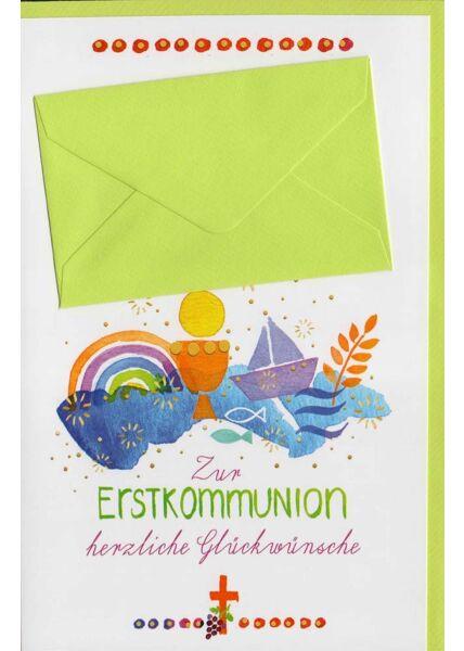 Glückwunschkarten zur Kommunion Glückwunschkarte Erstkommunion mit Geldkuvert