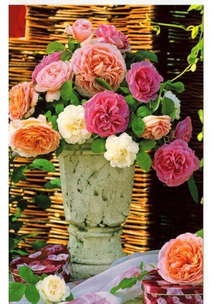 Grußkarte Vase Rosen ohne Text Sommer