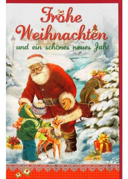 Weihnachtskarte Weihnachtsmann Kind Reh
