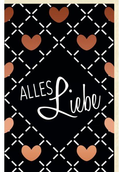 """Grußkarte """"Alles Liebe"""", mit kupferfarbener Folie"""