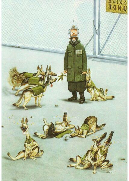 Postkarte Cartoon Hunde und Mann