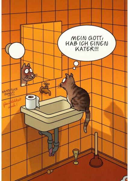 Postkarte lustig Katze Spruch Kater