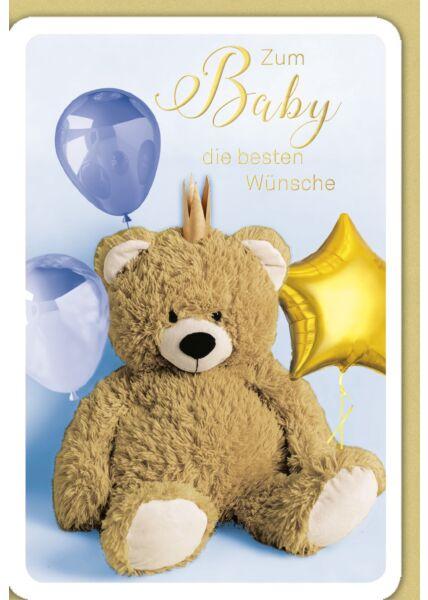 Glückwunschkarte Geburt Baby Junge - Teddy mit Krone, blauer Ballon