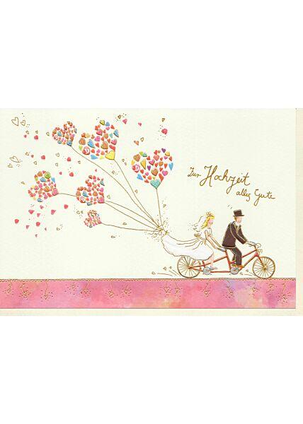 Karte zur Hochzeit Brautpaar auf Tandem, Naturkarton, mit Goldfolie und Blindprägung