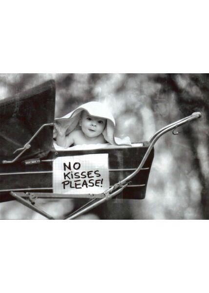 Postkarte im Retrostil No Kisses Please!