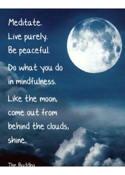 Postkarte englisch Text Moon behind the cloud