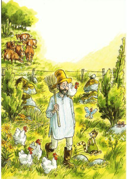 Postkarte Kinder Pettersson und Findus Im Garten