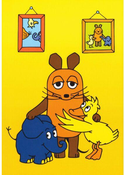 Maus-Postkarte Freunde