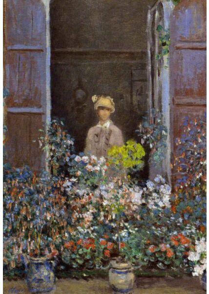 Kunstkarte Claude Monet - Camille Monet in the Window