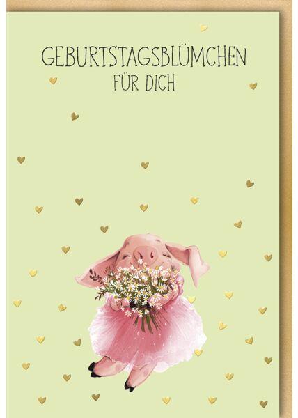Geburtstagskarte Schweinchen Tier niedlich Illustration