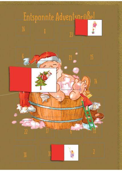 Adventskalender-Weihnachtskarte: Entspannte Adventsgrüße
