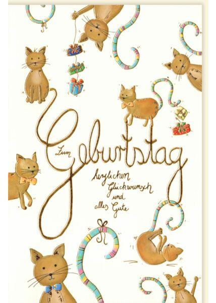 Geburtstagskarte für Kinder Katzen alles Gute