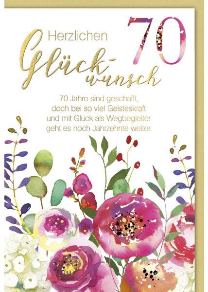 Geburtstagskarte 70 Jahre sind geschafft