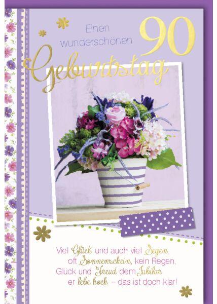Geburtstagskarte 90 Viel Glück und auch viel Seegen
