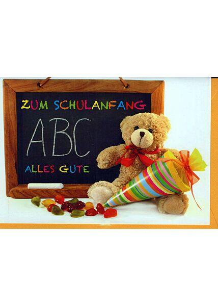 Karte Schulanfang: Teddy mit Schultüte